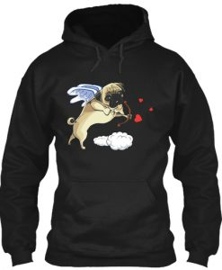 Cupid Pug Dog Funny Valentines Day Hoodie IGS