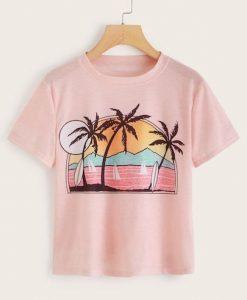 Tropical And Landscape Print T-Shirt RE23