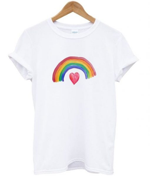 rainbow over heart t-shirt REW