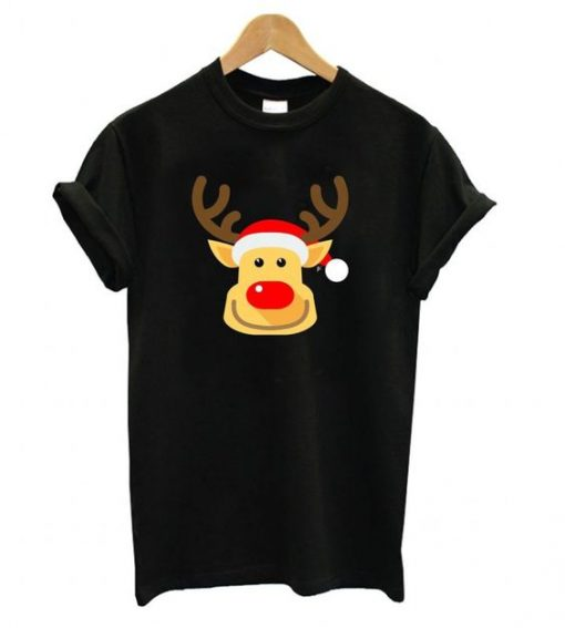 Cheeky Smile Rudolph Red Nose Reindeer T shirt ZX06